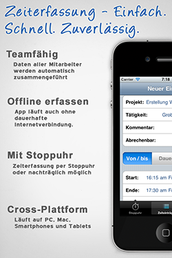 Screenshot iPhone Zeiterfassung App